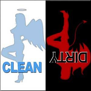 Clean / Dirty Devil / Angel steel fridge magnet (cv)